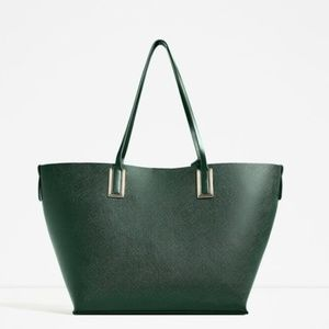 Brand new - Zara Metallic Detail Green Tote Bag